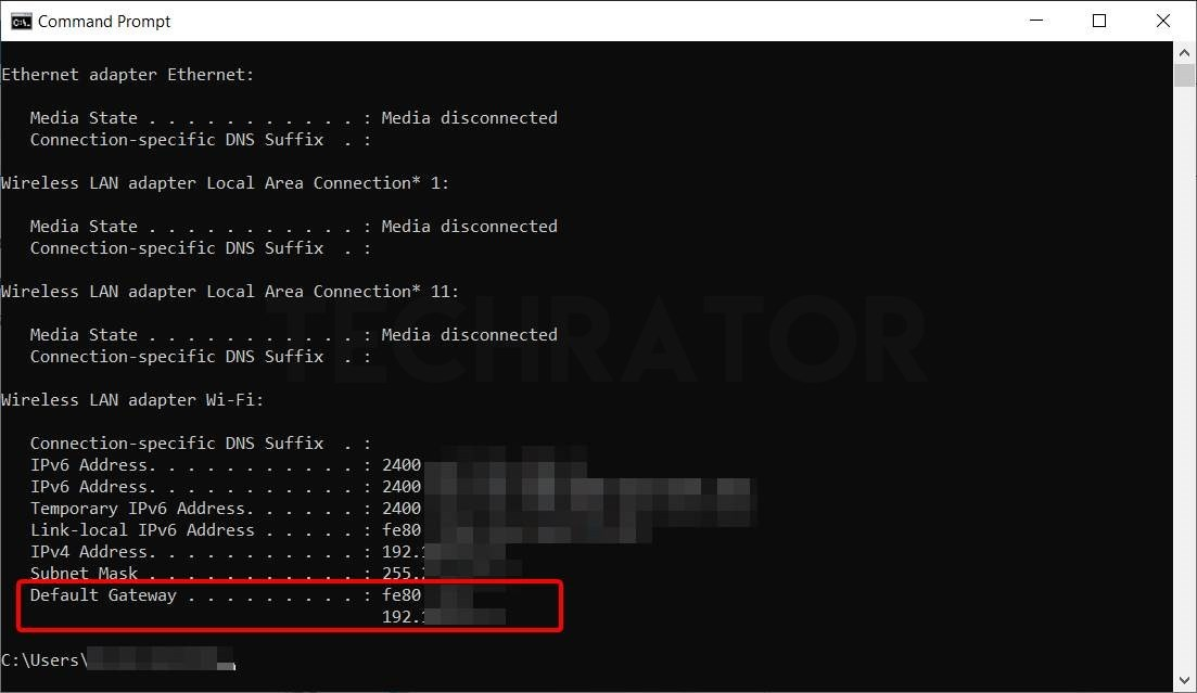 Showing how to Check your IP from CMD prompt using ipconfig