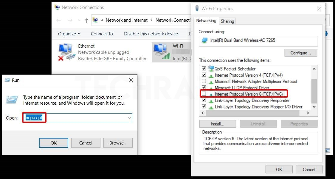 Showing how to Disable the IPV6 In windows 10