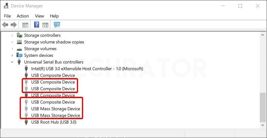 Showing how to enable show hidden devices in Device manager