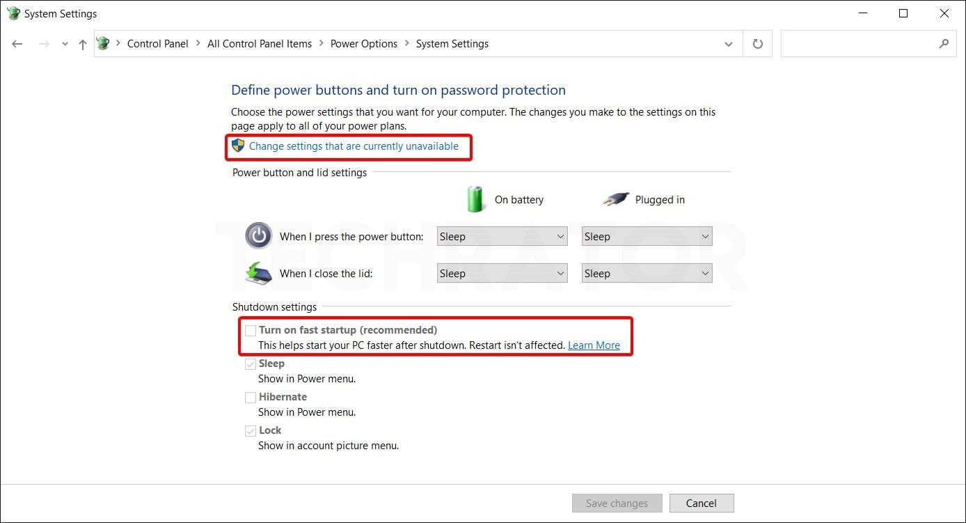 Showing how to turn on fast startup in windows 10