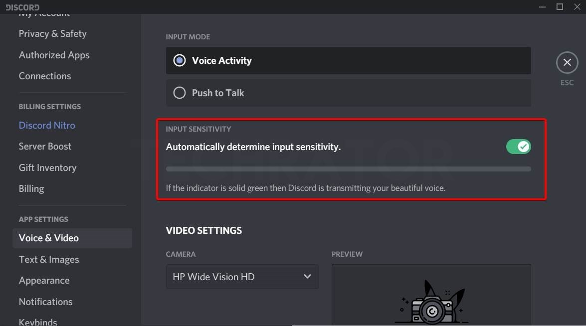Image of where to find Input Sensitivity settings discord