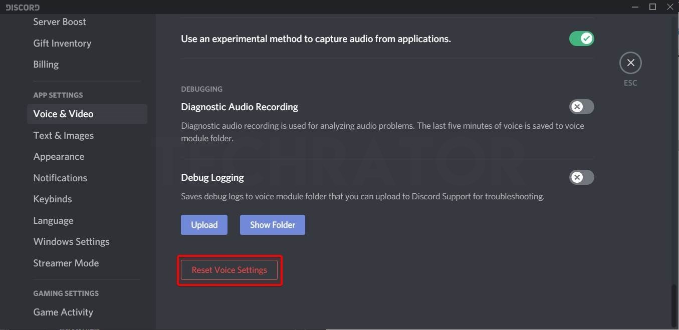 Techrator showing how to Resest Discord audio settings Step 3 reset all audio settings