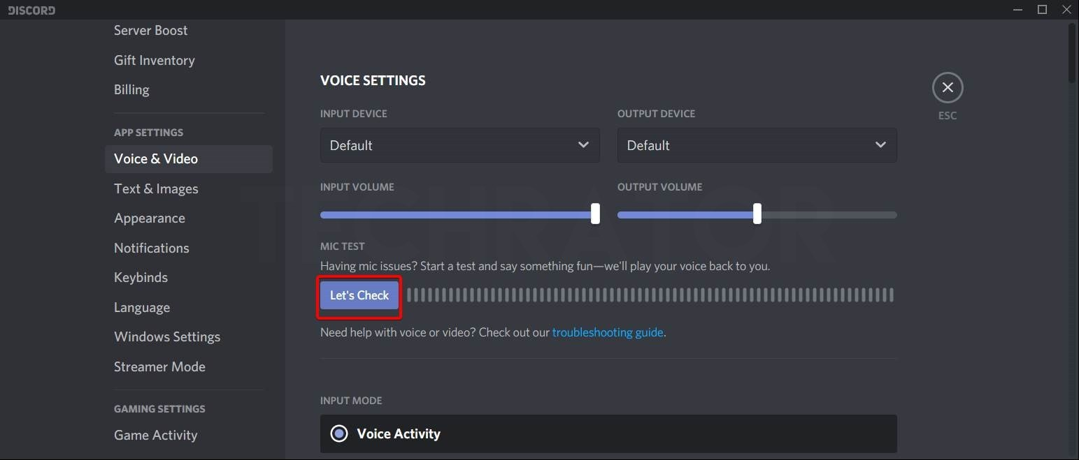 Techrator showing how to Resest Discord audio settings Step 4 now adjust mic volume