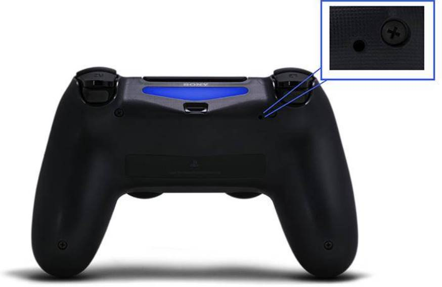 Showing where to find the reset button on ps4 controller