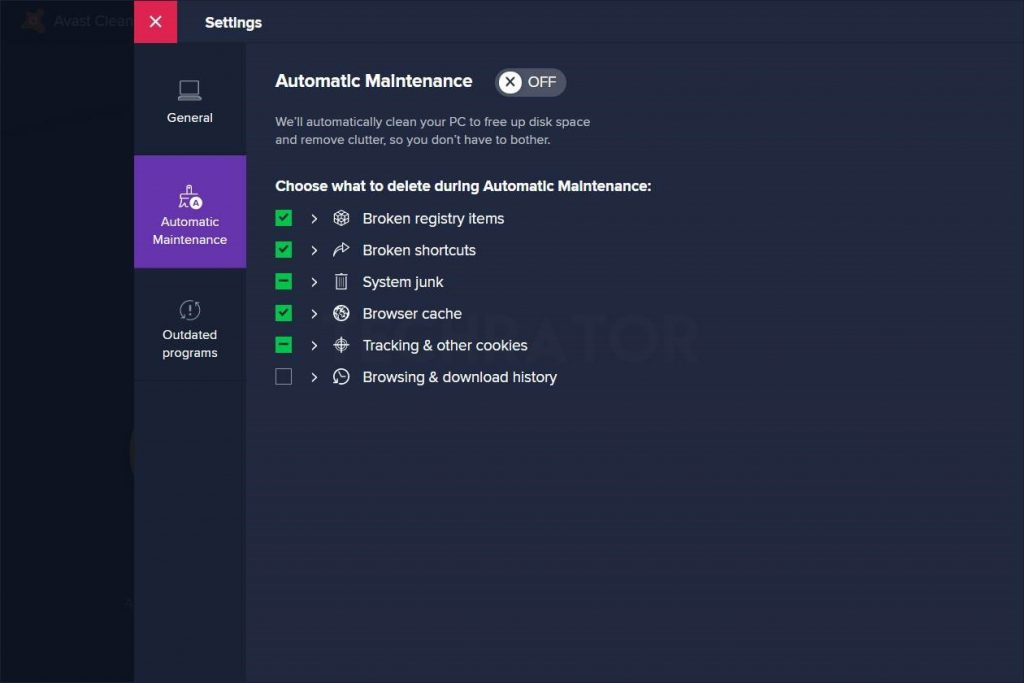 Image of Automatic Maintenance Feature in Avast Cleaner