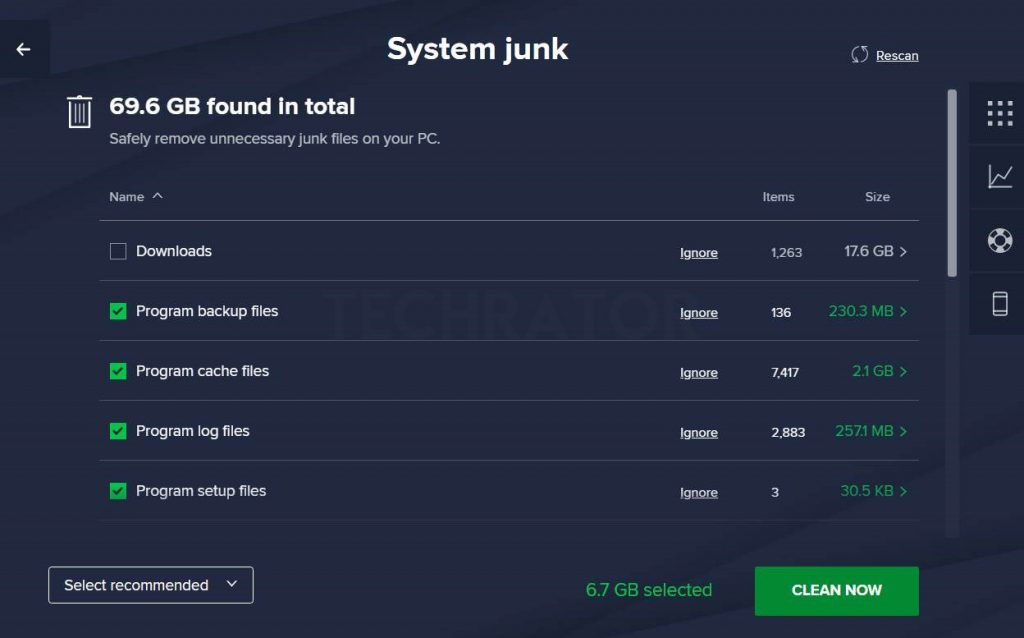 Image of Avast System Junk Clean Feature