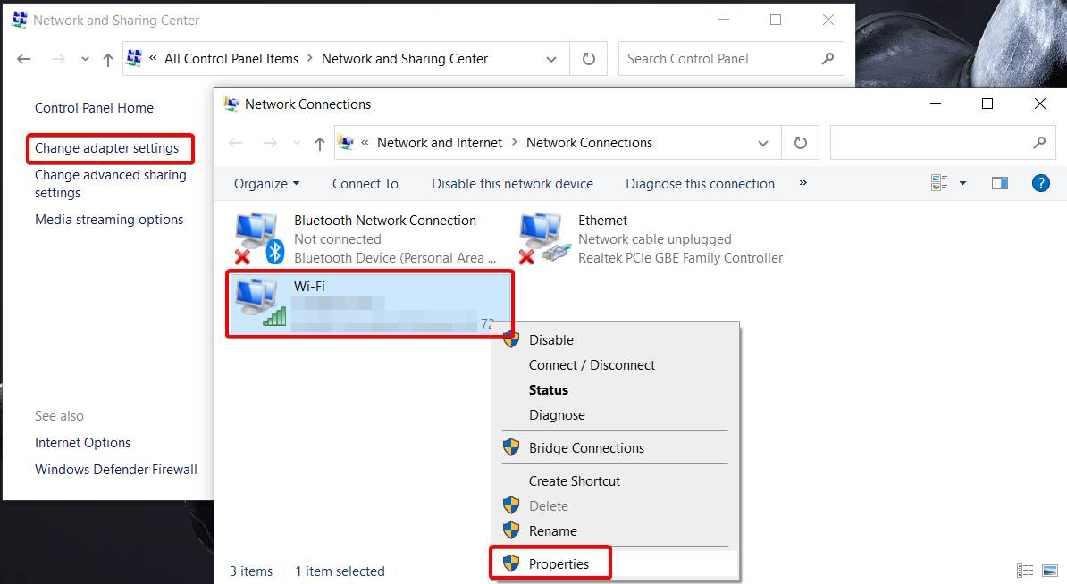 Image of Connected Network Devices in windows