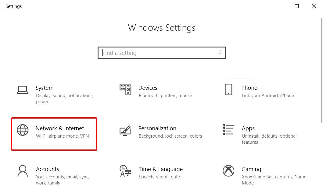 Image of Internet and Network settings of windows