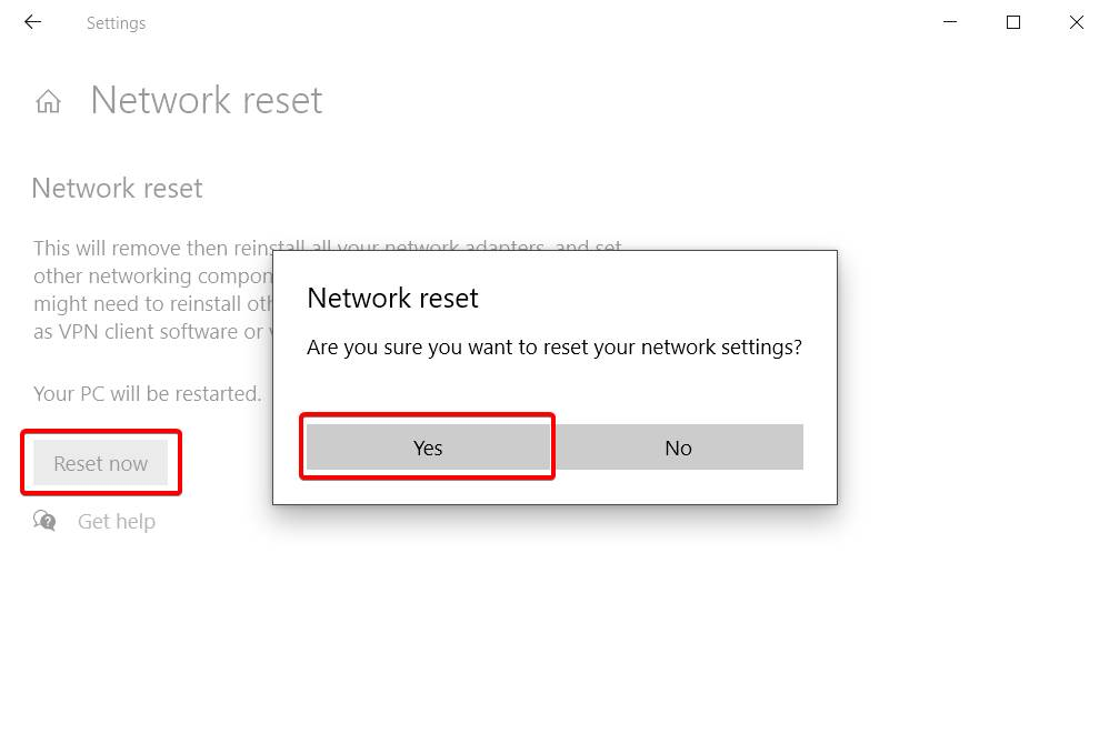 Image of Reset Your Network Option