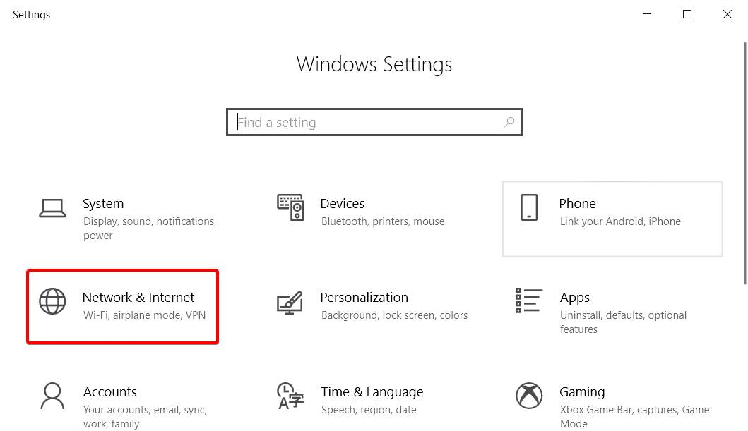 Internet and network settings of windows