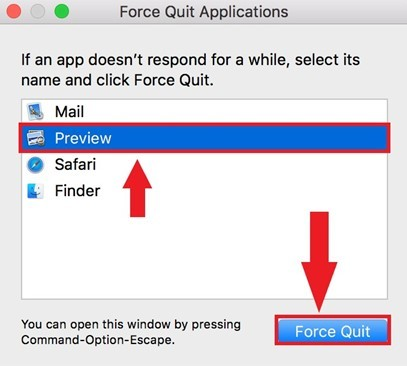 Popup of force quit appilcations