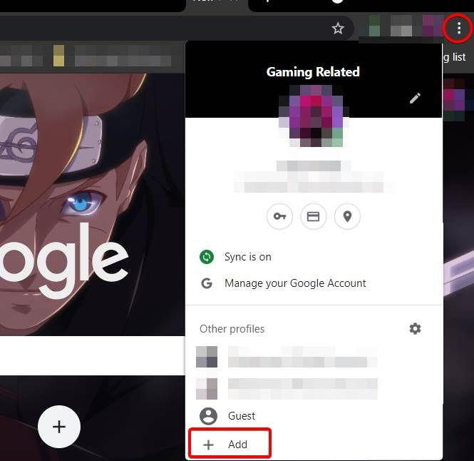 Showing how to add a new profile in browser