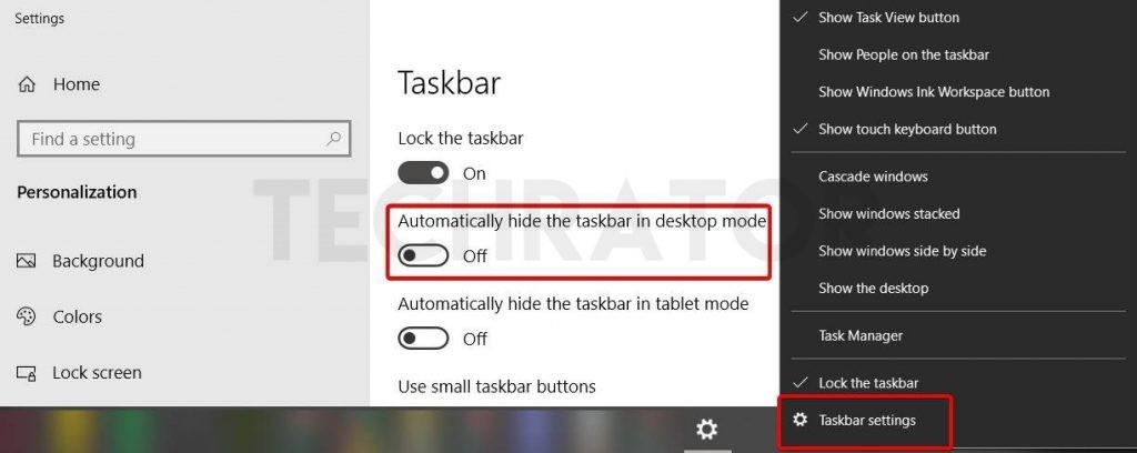 Showing how to find the Hide task bar in desktop mode option