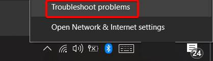 Showing the WiFi troubleshoot problems