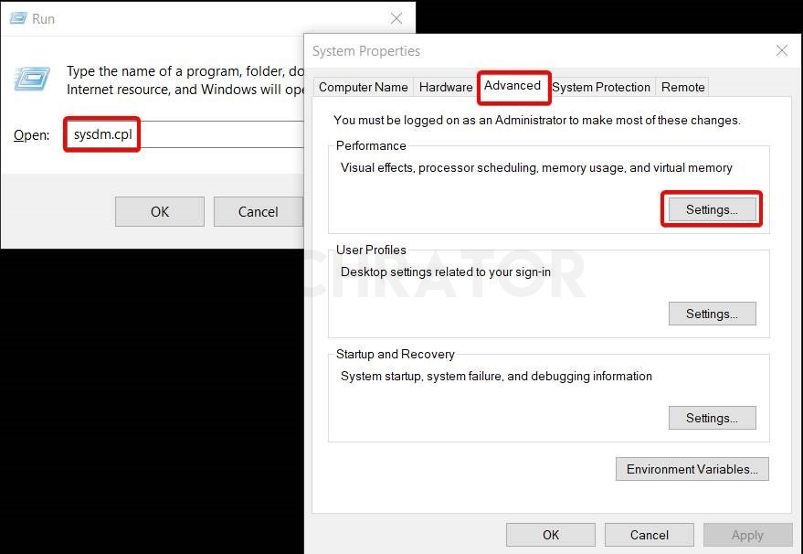 Showing the system properties settings