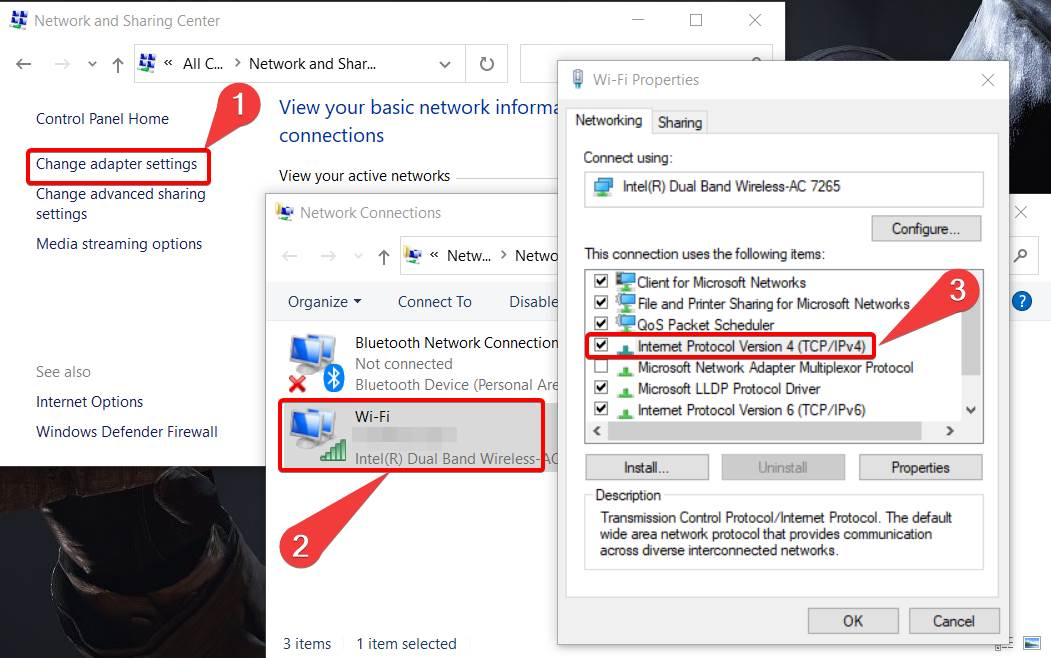 Showing where to use the DNS in windows