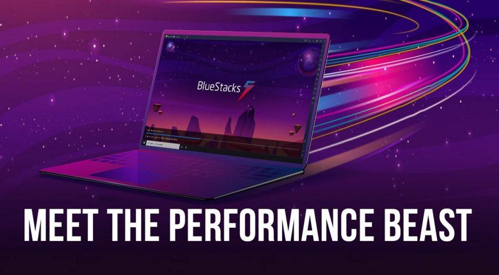 Vector of laptop running bluestack