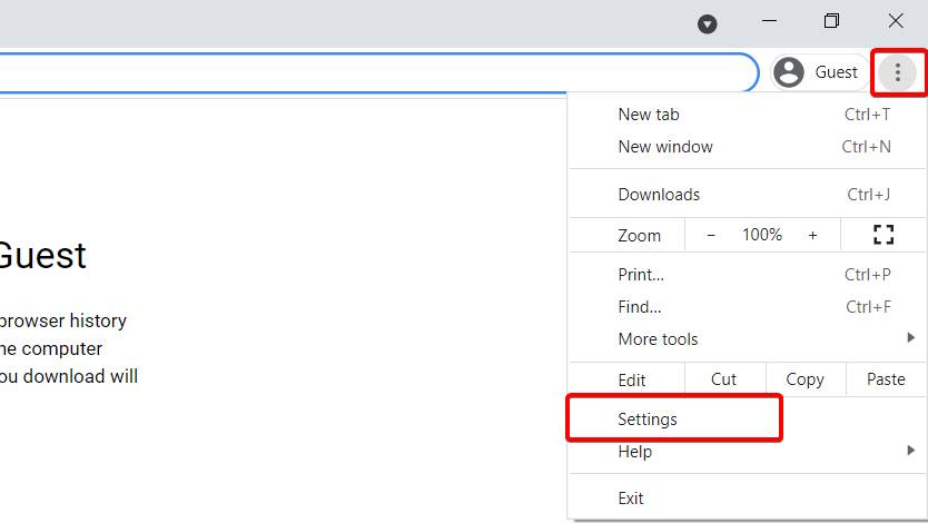 Where to find the settings option in chrome