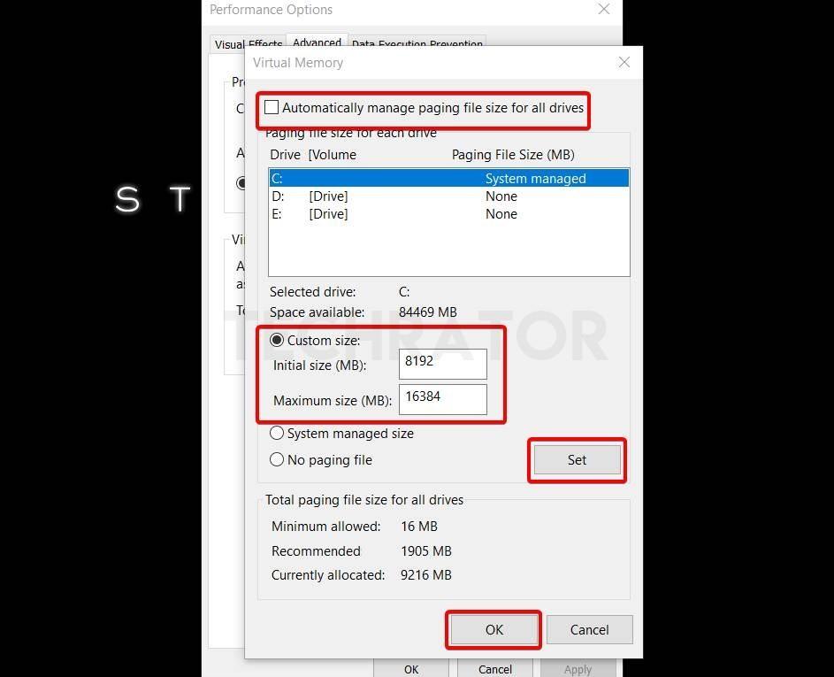 allocate your virtual memory option in windows 10
