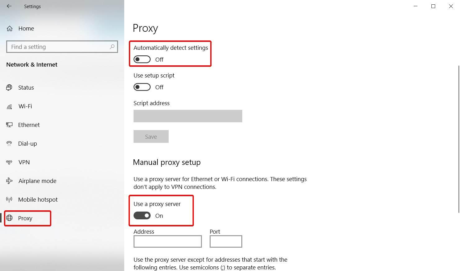 how to use custom proxy settings in windows