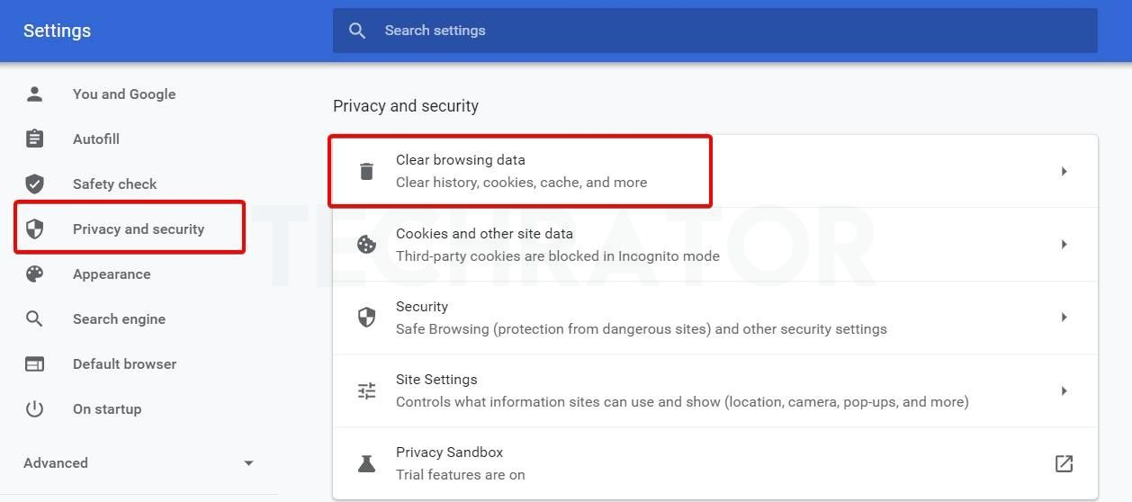 image of Privacy and security option in chrome