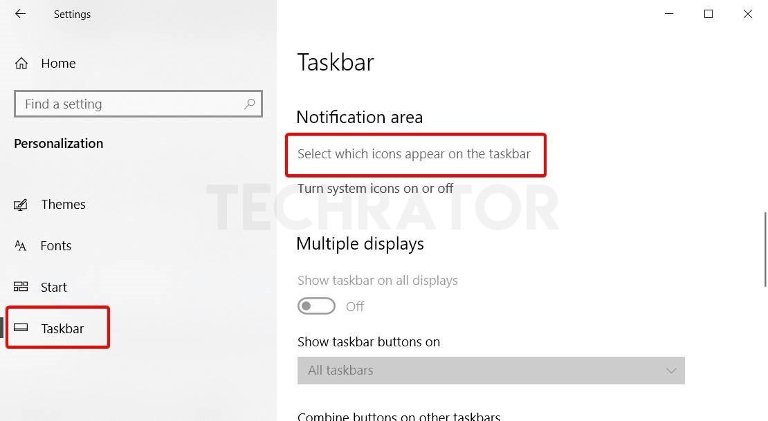 image of Taskbar settings of windows 10