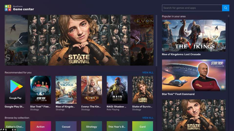 image of bluestack games dashboard