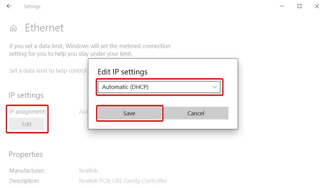 image of changing Ip Settings