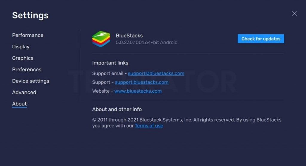 image of check for update button of bluestack 5
