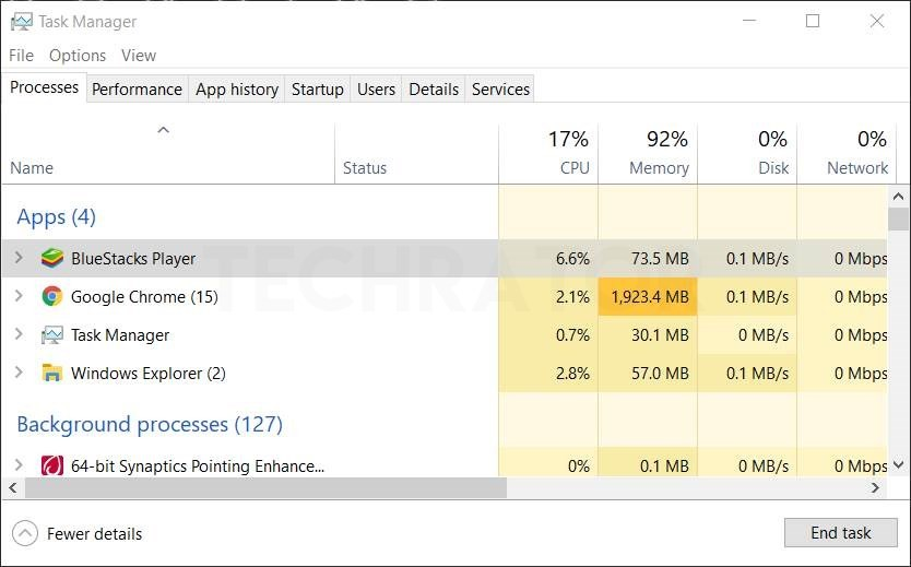 image of task manager showing my memory usage of bluestack