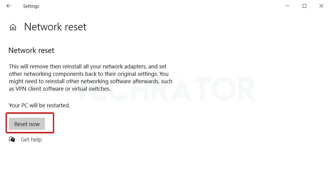 image of the network reset option in windows 10