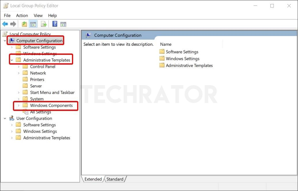 image of windows components settings