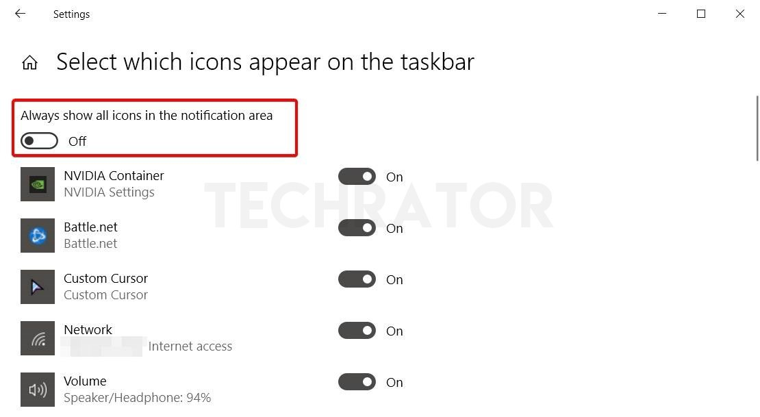 options of icons appear on the taskbar