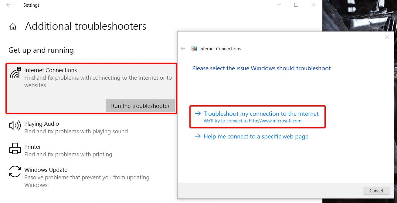 showing where to find the troubleshoot connection option