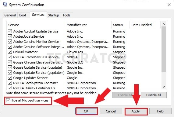 image of hide all microsoft services option